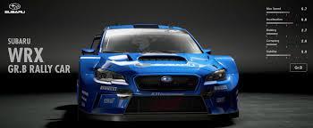 subaru sports car subaru wrx gr b rally car gran turismo sport car list