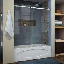 glass shower door for bathtub kohler levity 60 in x 62 in semi frameless sliding tub door in