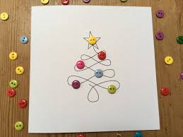 christmas card christmas tree with button baubles paper