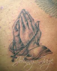 praying hands with rosary beads tattoo tattooed by johnny u2026 flickr