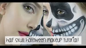 Half Skull Halloween Makeup by Half Skull Makeup Tutorial Jasmine Clough Youtube