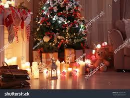 Decorated Living Room Beautiful Christmas Tree Stock Photo