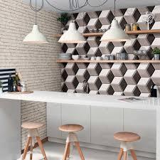 Kitchen Splashback Tiles Ideas Lovely Geometric Kitchen Splashback Using Grey Hexagon Tiles From