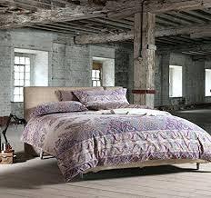 bohemian paisley duvet quilt cover light purple boho chic 100