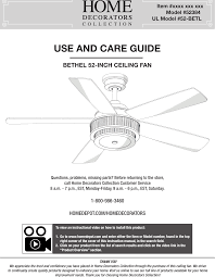 dawnsun ceiling fan parts 52betld 52 inch bethel user manual users manual king of fans inc