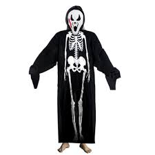 Halloween Skeleton Bodysuit Adults Printed Skeleton Costume Men Women Scary Ghost Halloween