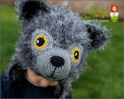 crochet pattern wolf animal hat pattern for baby toddler