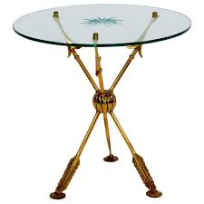 Tripod Side Table Neoclassical Tripod Italian Brass And Crystal Glass Arrow Side