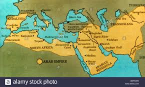 arab map map of the arab empire of the 7th and 8th century stock photo
