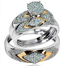 rings wedding set images His her wedding rings set trio men women 14k white jpg