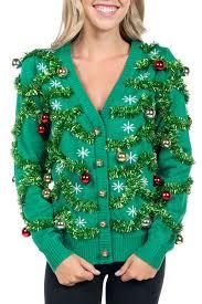 green sweater s green gaudy garland cardigan tipsy elves