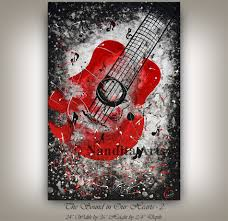 Home Design Ideas Nandita Guitar Painting Music Art Wall Hanging Red And Black Painting