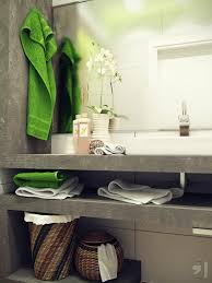 find small bathroom ideas in free online website design dan decor green towel hang on hook above grey concrete cabinet has rack and mirror also flowers on