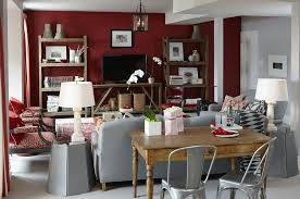 deep red and grey rec room rustic shelves table behind sofa