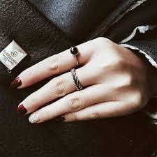 black finger rings images Japanese and korean version of the black onyx open index finger jpg