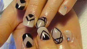 cream u0026 black acrylic nails with tribal nail art youtube