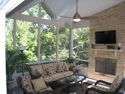 covered patio with fireplace can you really have a tv on your screened porch what about fabric