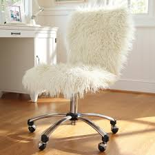 Desk Chair White by Cool White Fluffy Desk Swivel Chair For Girls Decofurnish