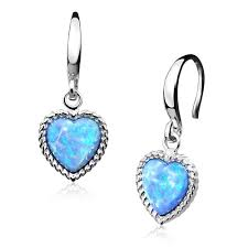 blue opal earrings silver blue opal heart earrings blue opal heart earrings aee5006