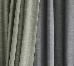 Lined Linen Drapery Panels Emery Linen Cotton Pole Pocket Drape Pottery Barn