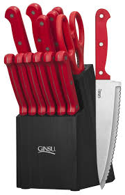 amazon ginsu essential series piece stainless steel amazon ginsu essential series piece stainless steel serrated knife set cutlery with black kitchen knives block