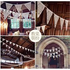 home decor events goedkope 2 5 m wit kant stof banner wimpel bruiloft vlag bunting