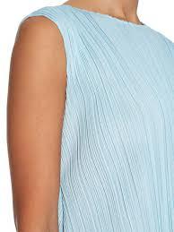 issey miyake light blue lyst pleats please issey miyake a line sleeveless pleated mini