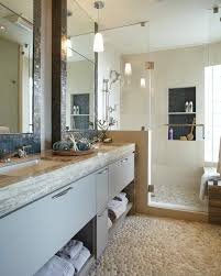 san francisco pebble bathroom floor beach style with earth tones