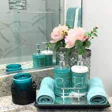 startling bathroom accessories decoration ideas tray turquoise