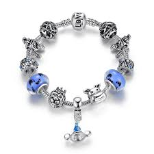 bangle style charm bracelet images Fashion pandora style charm bracelets with blue murano glass beads jpg