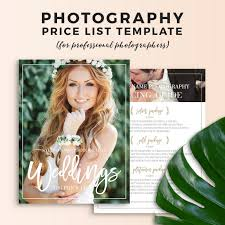 Indesign Price List Template Wedding Photography Price List Photoshop Template On Behance