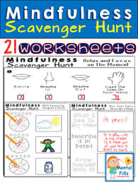 mindfulness scavenger hunt includes 21 worksheets that may be used