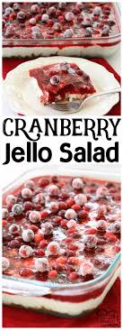 cranberry jello salad made with 3 festive delicious layers of