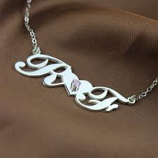 initials necklace silver sterling silver initials necklace