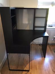 ikea mike dark brown brown black corner desk in leyton london