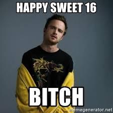 Sweet 16 Meme - happy sweet 16 bitch jesse pinkman meme generator