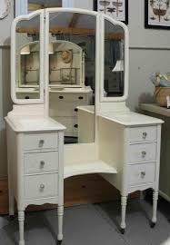 Vanity Desk Mirror Vintage Vanity Table Dresser With Trifold White Woden Frame Mirror
