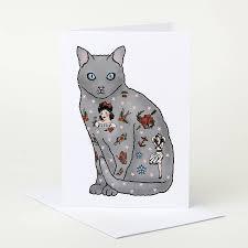 Cat Birthday Cards Tattooed Cat Birthday Card By Pugyeah Notonthehighstreet Com