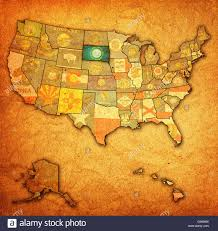 Map South Dakota South Dakota On Old Vintage Map Of Usa With State Borders Stock