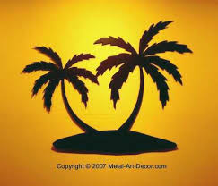 palm tree island tropical condo wall decor
