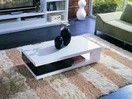 Modern White Coffee Table Rectangular Shaped Contemporary White And Black Coffee Table