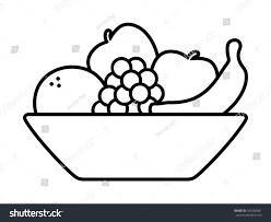 bowl fruit fruits orange banana grapes stock vector 545296081