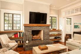 gray brick fireplace bright white wall paint white wooden coffee