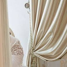 White Satin Curtains High End Fashionable Chagne Gold Satin Living Room Curtain Two