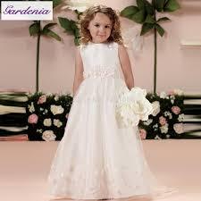 elegant flower dresses sleeveless tulle a line full length