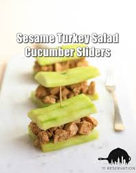 10 min recipe sesame turkey salad cucumber sliders yi