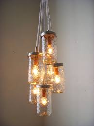 Jelly Jar Light With Cage by Dazzling Diamonds Mason Jar Chandelier Upcycled Hanging