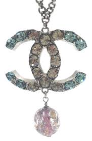 pink crystal pendant necklace images Chanel gunmetal turquoise clear crystal cc pink glass large jpg