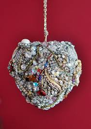 jeweled bling heart ornament for her large jewelry heart boho