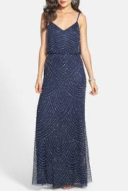 adrianna papell embellished blouson gown in navy art deco poshare